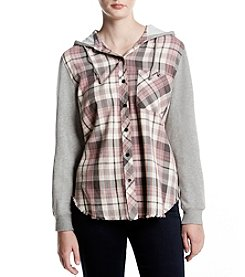 Hippie Laundry Plaid Embroidered Hood Shirt