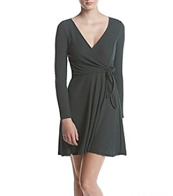 My Michelle Short Ribbed Knit Wrap Dress