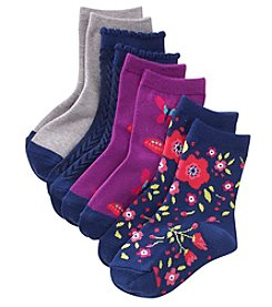 Miss Attitude Girls' 4 Pack Floral Butterfly Crew Socks