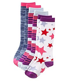 Miss Attitude Girls' 3 Pack Print Knee High Socks