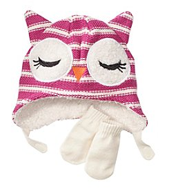 Miss Attitude Girls' 2T-4T Toddler Purple Owl Hat And Mittens Set