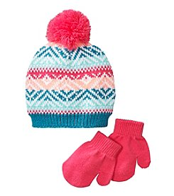 Miss Attitude Girls' 2T-4T Toddler Hat And Mittens Jacquard Set