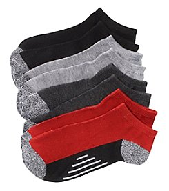 Statements Boys' 4 Pack Marled Bottom Low Cut Socks