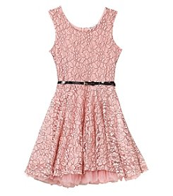 Beautees Girls' 4-6X Sleeveless Lace Dress With Belt