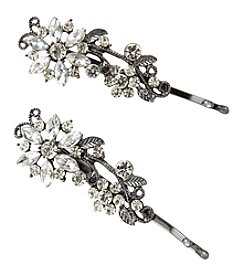 Twig & Arrow Accessories 2 Metal Baby Stone Flower Hair Pins