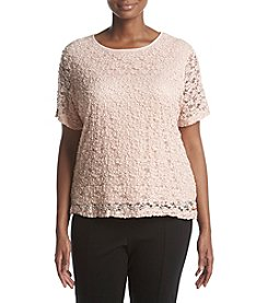 Calvin Klein Plus Size Crinkled Lace Tee