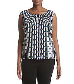 Calvin Klein Plus Size Geometric Print Pleated Neckline Top
