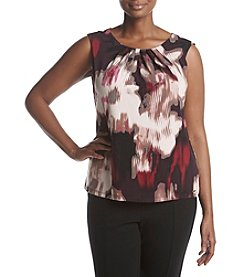 Calvin Klein Plus Size Floral Pleated Neckline Top