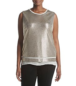 Calvin Klein Plus Size Metallic Sheer Hem Blouse