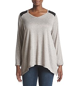 Jones New York Plus Size V-Neck Colorblock Inset Detail Top
