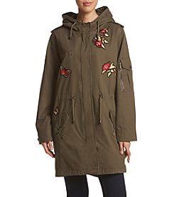 Steve Madden Floral And Butterfly Applique Drawstring Anorak Coat