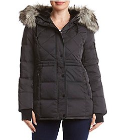 BCBG Faux Fur Anorak Quilted Coat