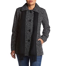 London Fog Petites' Tweed Short Wool Coat