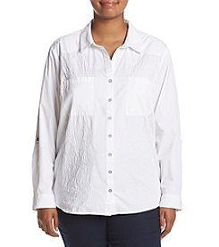 Gloria Vanderbilt Plus Size Floral Embroidery Shirt