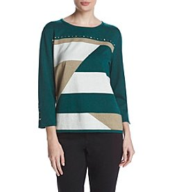 Alfred Dunner Geometric Patchwork Sweater