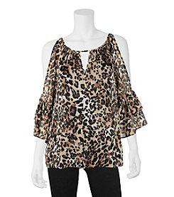 A. Byer Cheetah Cold Shoulder Top