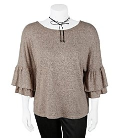 A. Byer Plus Size Boxy Flare Sleeve Top