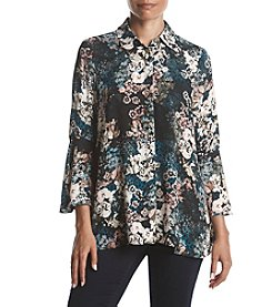 Jones New York Flounce Long Sleeve Top