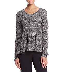 Max Studio Edit Marled Peplum Top