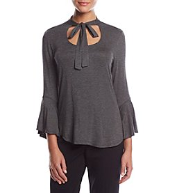 Max Studio Edit Bell Sleeve Tie Neck Top