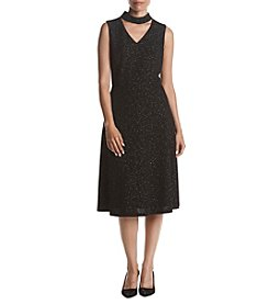 Nine West Sparkle Choker Neckline Fit And Flare Dress