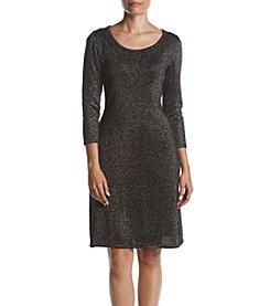 Nine West Allover Sparkle Fit And Flare Dress