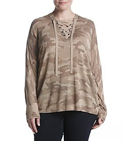 Democracy Plus Size Long Sleeve High Low Printed Top