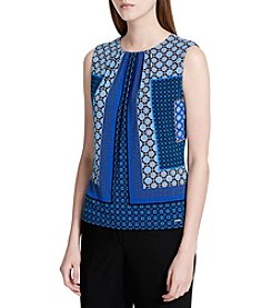 Calvin Klein Petites' Patchwork Pleated Neck Cami Top