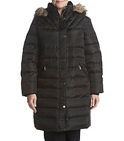 MICHAEL Michael Kors Plus Size Faux Fur Hood Quilted Coat