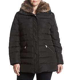MICHAEL Michael Kors Plus Size Faux Fur Collar Vertical Quilted Down Coat