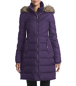 MICHAEL Michael Kors Pleat Side Inset With Faux Fur Trim Coat