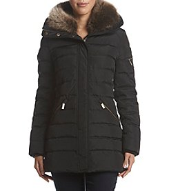MICHAEL Michael Kors Faux Fur Collar Vertical Quilted Down Coat