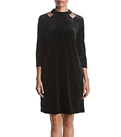 Nine West Cold Shoulder Velvet Dress