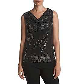 Nine West Cowl Neck Shimmer Pattern Top