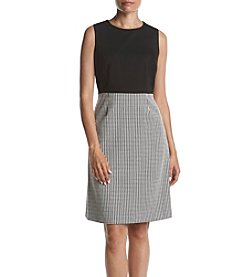 Kasper Sleeveless Houndstooth Dress