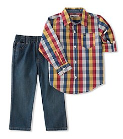 Kid's Headquarters Baby Boys' Plaid Shirt and Pants Set