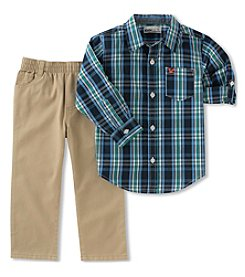 Kid's Headquarters Baby Boys' Plaid Shirt and Khaki Pants Set