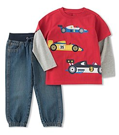 Kid's Headquarters® Baby Boys' Car Shirt & Denim Pants Set