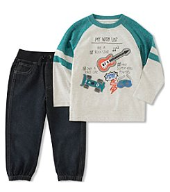 Kid's Headquarters Baby Boys' Wish List Shirt And Denim Joggers Set