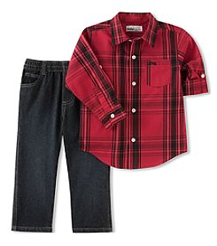 Kid's Headquarters Baby Boys' Plaid Shirt & Pants Set