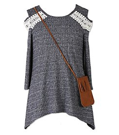 Speechless Girls' 7-16 Cold Shoulder Lace Top with purse