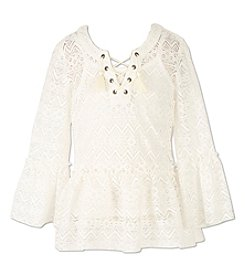 Speechless Girls' 7-16 Lace Bell Sleeve Top
