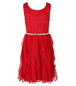 Speechless Girls' 7-16 Sleeveless Sparkle Dress With Ruffle Skirt