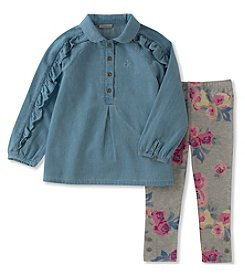 Calvin Klein Girls' 2T-4T 2 Piece Tunic and Leggings Set