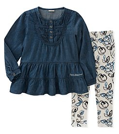 Calvin Klein Girls' 5-6X 2 Piece Tunic and Floral Leggings Set