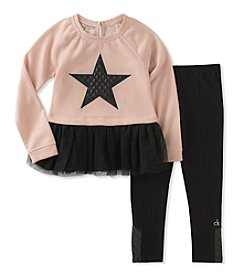 Calvin Klein Girls' 2T-6X 2 Piece Star Tunic and Leggings Set