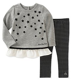 Calvin Klein Girls' 4-6X 2 Piece Sparkle Star Tunic and Leggings Set