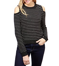 Lucky Brand Striped Cold Shoulder Pullover Sweater