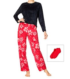HUE 3 Piece Fleece Pajama Set With Socks
