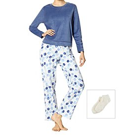 HUE 3 Piece Long Sleeve Bubbles Fleece Pajama Set With Socks